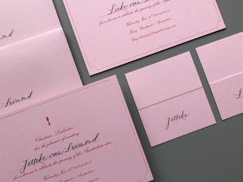 event kalligrafie voor Louboutin