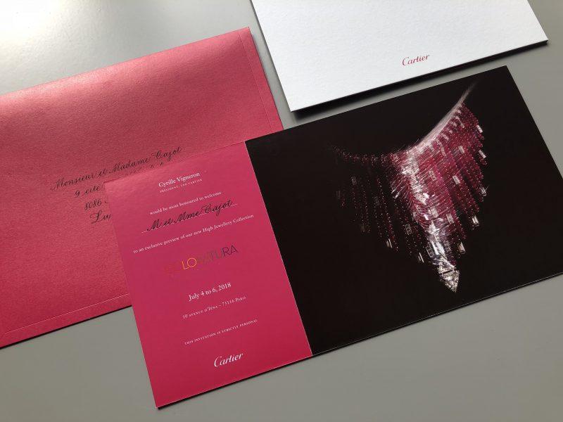 Gekalligrafeerde invites en enveloppen voor Cartier zomer 2018