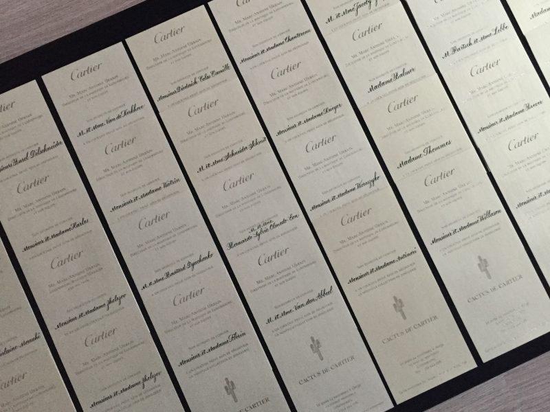 Gekalligrafeerde invites voor Cartier 2016