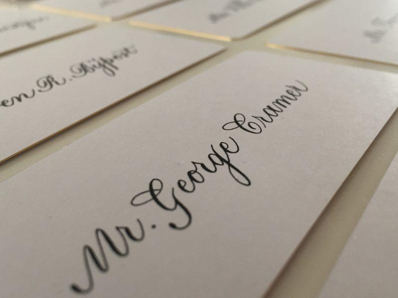 Gekalligrafeerde naamkaartjes Cartier 2017