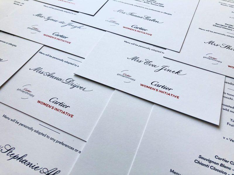 Kalligrafie voor Cartier, uitnodigingen