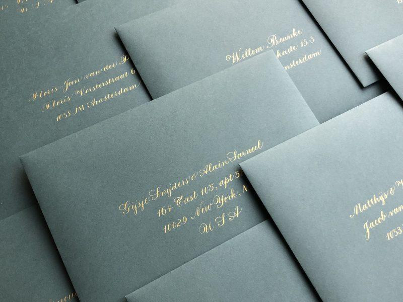 Gouden kalligrafie voor bruiloft